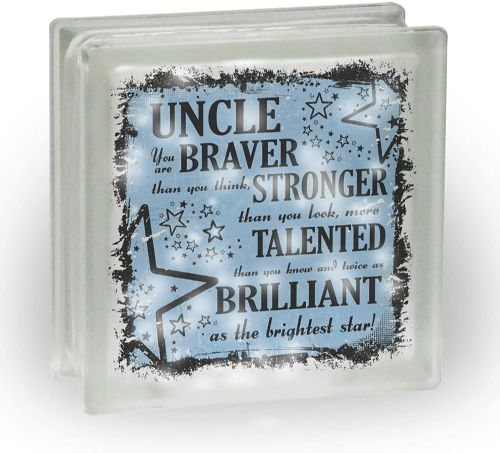 (Male) You are Braver Than You Think Novelty Frosted View Decoration Glass Block w/White Lights